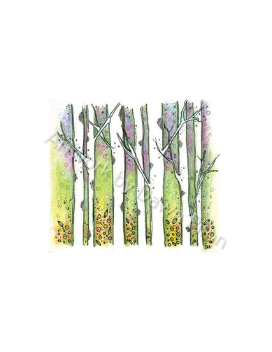 Birch Tree Illustration in Ink and Watercolor by Dawn Pilon.