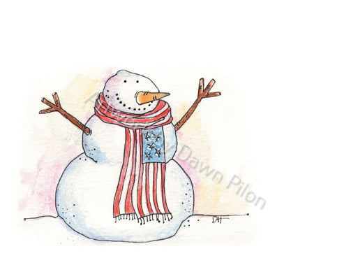 American Snowman illustration in ink and watercolor by Dawn Pilon.