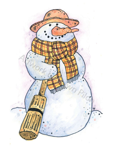 Fall Snowman illustration in ink and watercolor by Dawn Pilon.