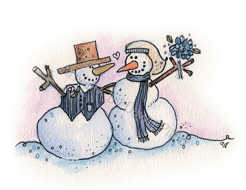 Happily Ever After Snowman illustration in ink and watercolor by Dawn Pilon.