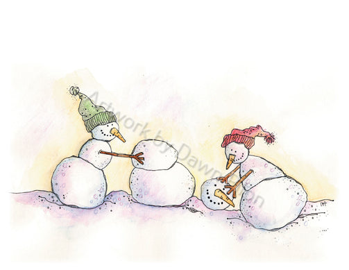 Snowman Make New Friends illustration in ink and watercolor by Dawn Pilon.
