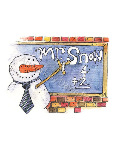 Mr. Snow illustration in ink and watercolor by Dawn Pilon.