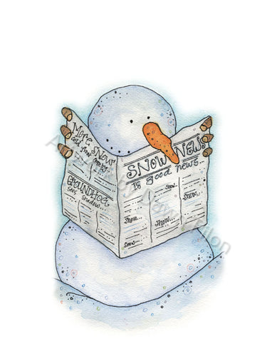 Snowman Newsman illustration in ink and watercolor by Dawn Pilon.