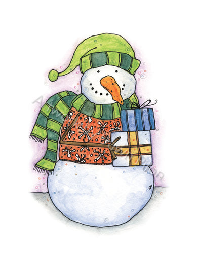 Snowman Bearing gifts illustration in ink and watercolor by Dawn Pilon.