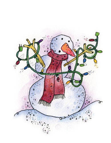 Tangled Snowman illustration in ink and watercolor by Dawn Pilon.