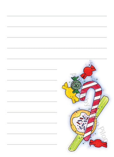 Christmas Candy illustration in ink and watercolor by Dawn Pilon on notepad