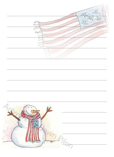 Snowman and american flag illustration in ink and watercolor by Dawn Pilon on notepad
