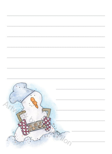 Snowman Baking Cookies illustration in ink and watercolor by Dawn Pilon on notepad