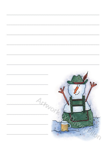 Snowman - Bavarian illustration in ink and watercolor by Dawn Pilon on notepad
