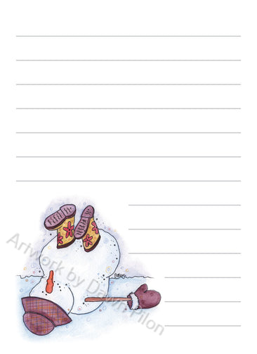 Snowman Boots in the Air illustration in ink and watercolor by Dawn Pilon on notepad