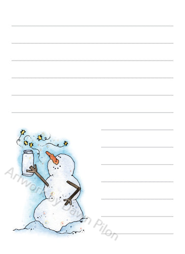 Snowman Fireflies in Jar illustration in ink and watercolor by Dawn Pilon on notepad