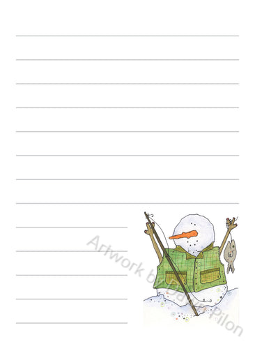 Snowman Fishing illustration in ink and watercolor by Dawn Pilon on notepad