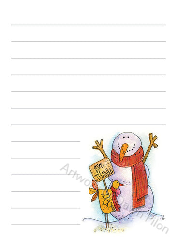 Snowman Give Thanks illustration in ink and watercolor by Dawn Pilon on notepad