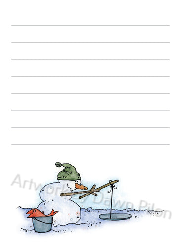 Snowman Ice Fishing illustration in ink and watercolor by Dawn Pilon on notepad