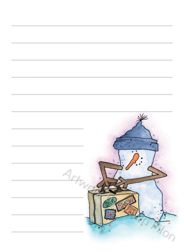 Snowman Luggage illustration in ink and watercolor by Dawn Pilon on notepad