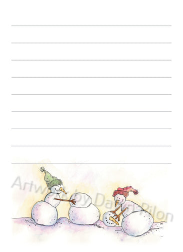 Snowman Make New Friends illustration in ink and watercolor by Dawn Pilon on notepad