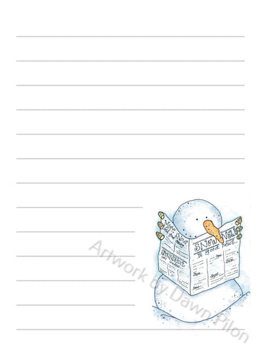 Snowman Newspaper illustration in ink and watercolor by Dawn Pilon on notepad