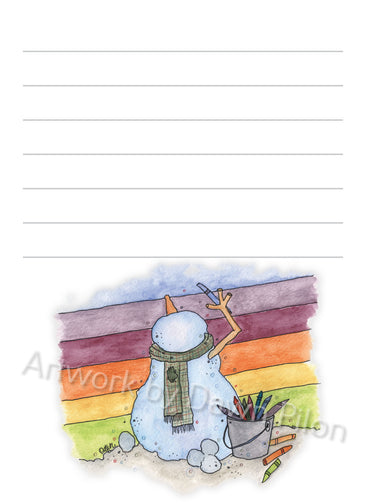 Snowman Rainbow illustration in ink and watercolor by Dawn Pilon on notepad