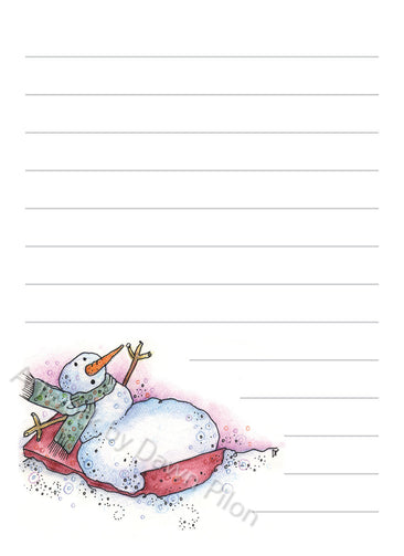 Snowman Red Sled illustration in ink and watercolor by Dawn Pilon on notepad