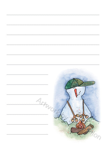 Snowman Roasting Marshmallows 2 illustration in ink and watercolor by Dawn Pilon on notepad