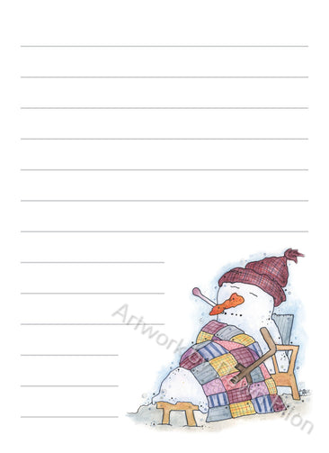 Snowman Sick illustration in ink and watercolor by Dawn Pilon on notepad