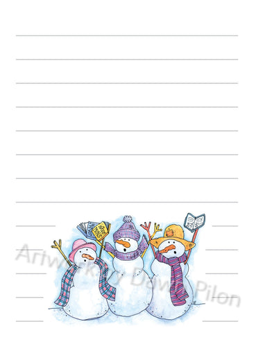 Snowman Singing Ladies illustration in ink and watercolor by Dawn Pilon on notepad