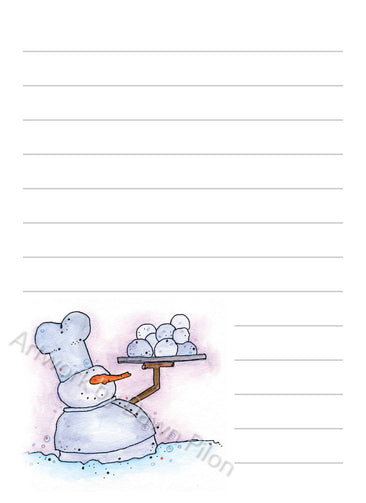 Snowman Snowball Chef illustration in ink and watercolor by Dawn Pilon on notepad