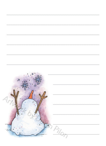 Snowman Snowflakes illustration in ink and watercolor by Dawn Pilon on notepad