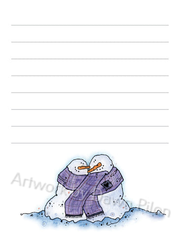 Snowman Snuggling in Scarf illustration in ink and watercolor by Dawn Pilon on notepad