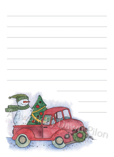 Snowman Truck and Christmas Tree illustration in ink and watercolor by Dawn Pilon on notepad