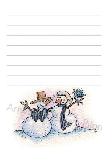 Snowman Wedding illustration in ink and watercolor by Dawn Pilon on notepad