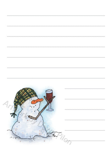 Snowman Wine illustration in ink and watercolor by Dawn Pilon on notepad
