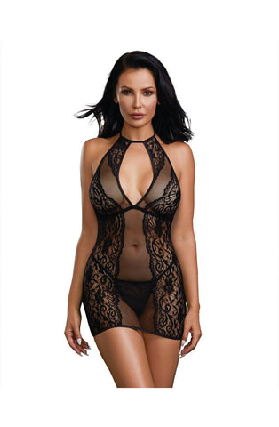 Baby Fishnet and Lace Halter Chemise with G-String Set Babydoll Lingerie Chemise | AYNAYA Women's Lingerie