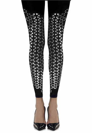 """Beat Goes On"" Print Mesmerizing Disco Ball Footless Black And Silver 120 Denier Leggings Tights Women Tights 