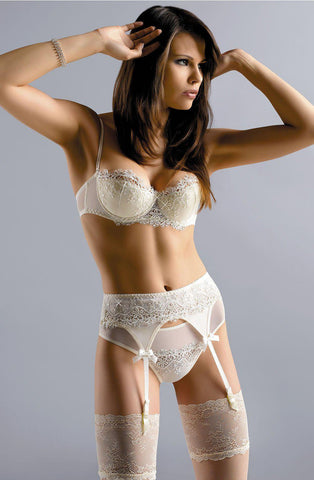 Bridal Balconette Bra Decorated With Swarovski Crystals | AYNAYA Women's Lingerie