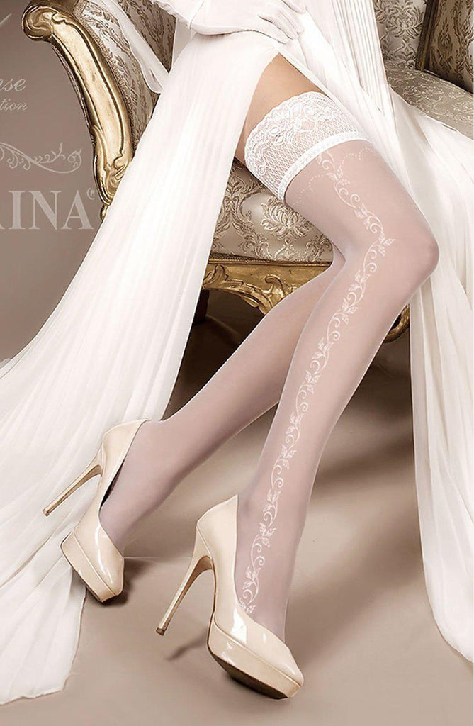 Embroidered Hold Up Tights Ivory | AYNAYA Women's Lingerie