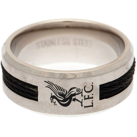 Liverpool FC Black Inlay Ring Medium