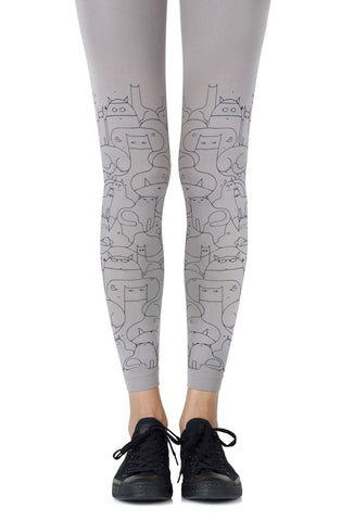 "Make Your Legs Look Ferocious Zohara ""Cat Lady"" Grey Footless Leggings Tights Women Tights 