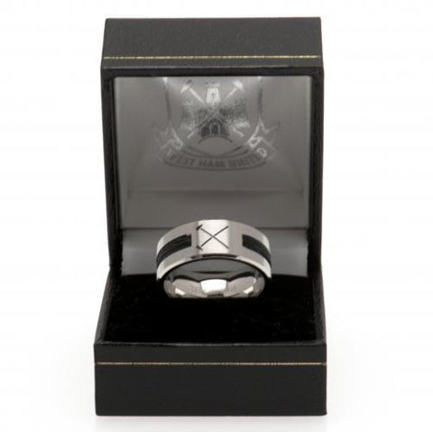 West Ham United FC Black Inlay Ring Small HM