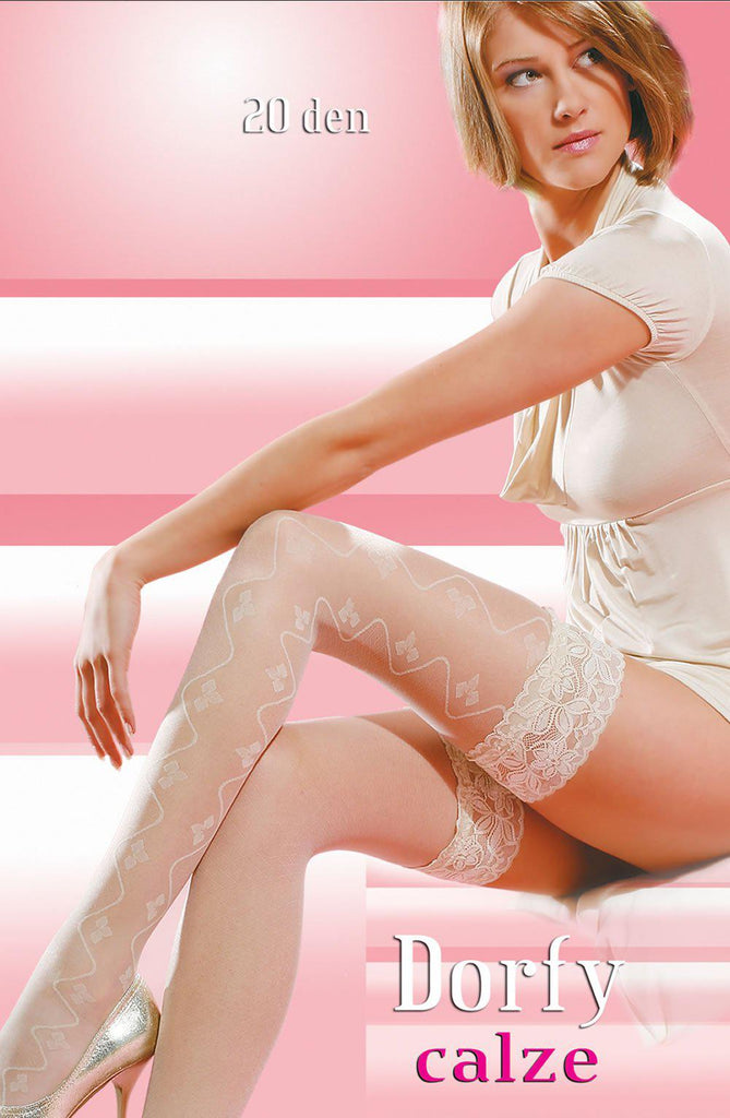 Patterned, Delicate and Transparent White / Ivory Women Stockings | AYNAYA Women's Lingerie