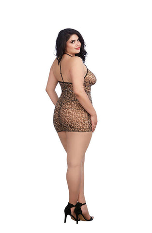 Plus Size Leopard Print Stretch Mesh Chemise 11842X Chemise | AYNAYA Women's Lingerie