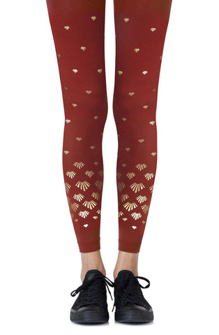"Sea-riously Beautiful Zohara ""Shell Out"" Rust With Gold Print Footless Leggings Tights Women Tights 