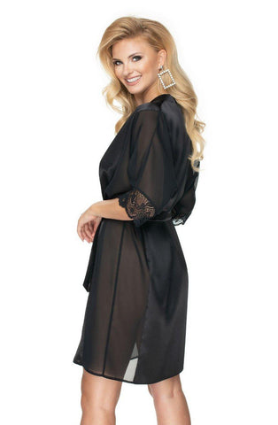 Sharon Black Dressing Gown | AYNAYA Women's Lingerie