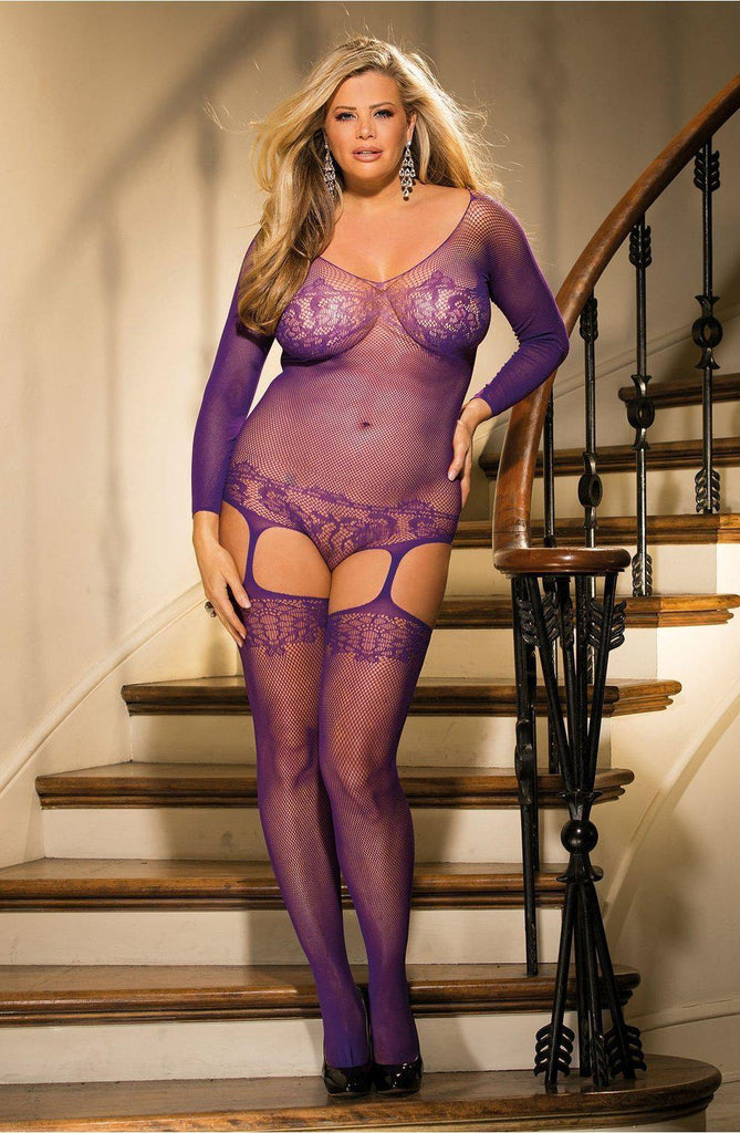 Stunning Plus Size Long Sleeve Teddy Purple Bodystockings | AYNAYA Women's Lingerie