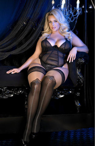 Super Sexy Plus Size Tights | Hold Up Tights Black/Skin | AYNAYA Women's Lingerie