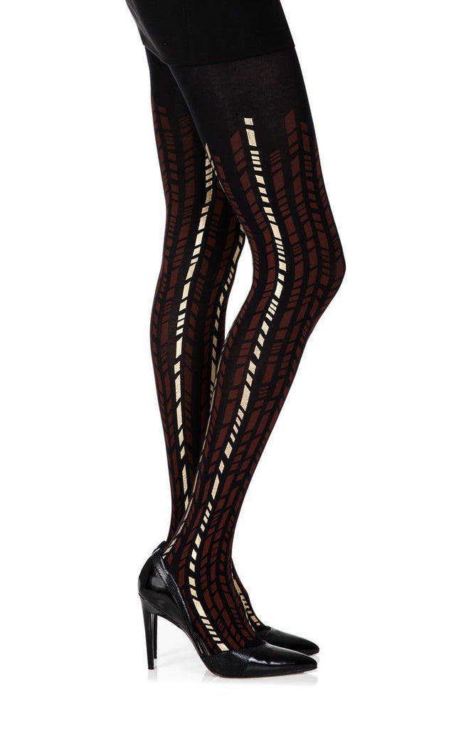 "Zohara ""Cross It"" Burgundy/Gold Print Tights Women Tights 