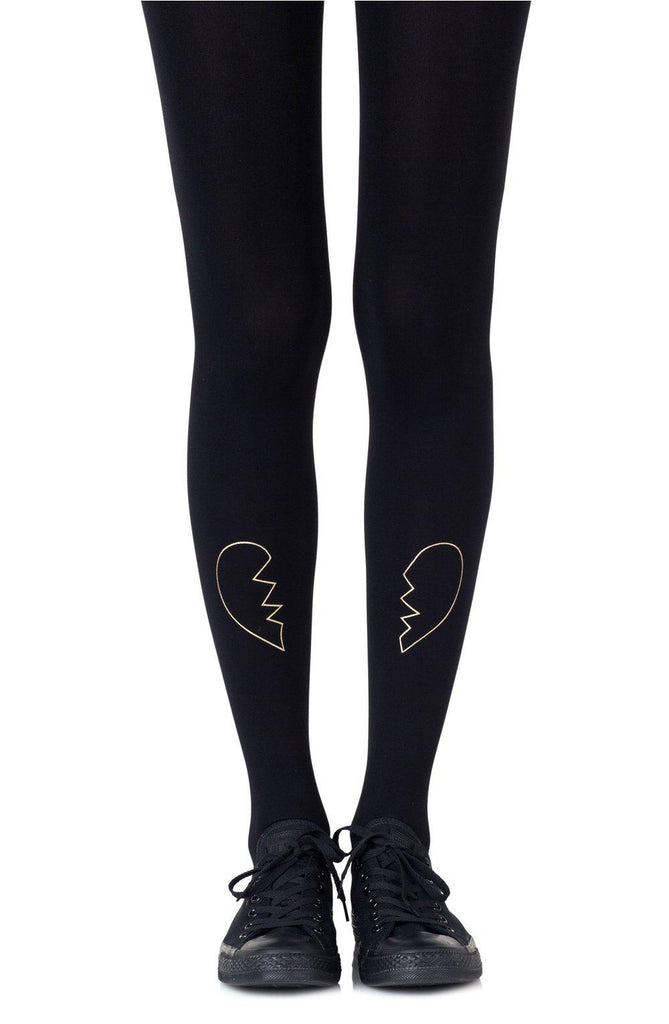 "Zohara ""Heartbreaker"" Gold Print Tights Women Tights 