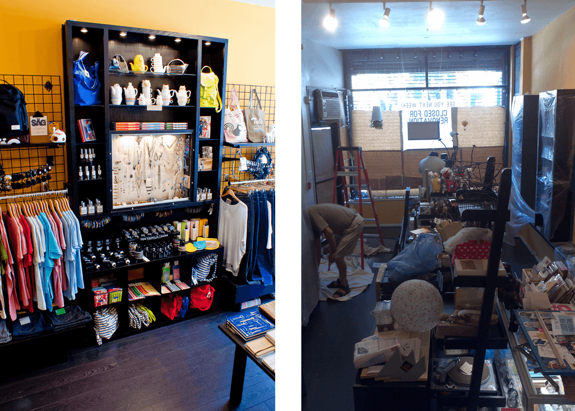 The store in June 2012 on the left, and the store in August 2012 on the right.
