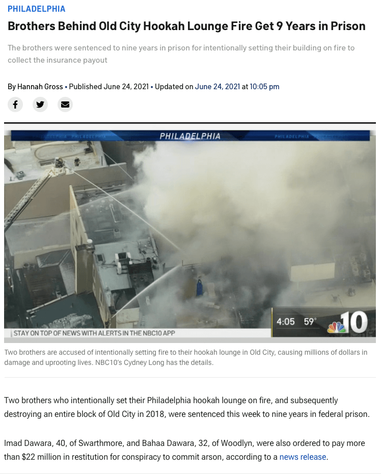 Brothers Behind Old City Hookah Lounge Fire Get 9 Years in Prison - June 24, 2021
