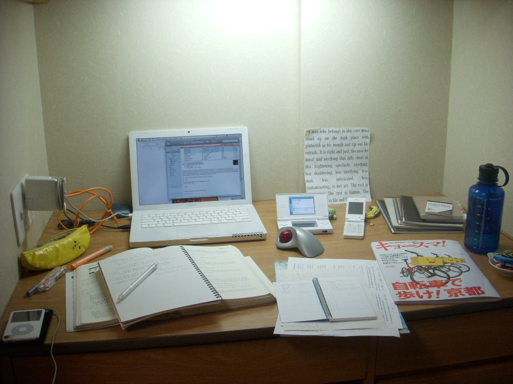 Monk's desk at Kansai Gaidai mid-study session